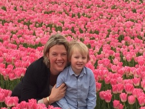 Me and my son Alexander in the middle of pink tulips.