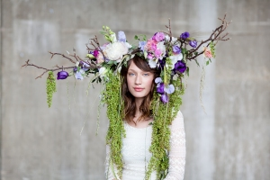 Lisianthus by Okishima en Simmonds headdress for British Flowers Week 2014