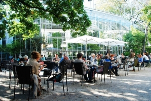 The terrace in the botanic garden is a favorite spot for both locals and tourists
